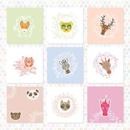 funny animal: Conjunto de la tarjeta de felicitaci�n. Animales divertidos. fronteras florales. Marcos de boceto, dibujado a mano. Vector Vectores