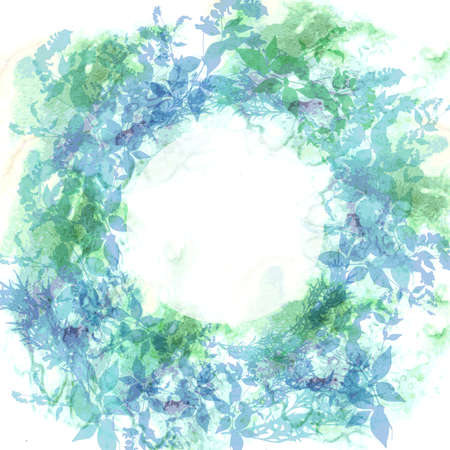 Spring background, wreath with mint green leaves, watercolor. Round banner for text. Vector illustration Ilustração