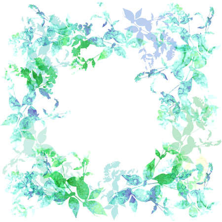 Spring background, wreath with green mint leaves, watercolor. Round banner for text. Vector illustration