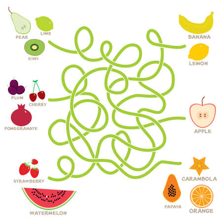 fruit  labyrinth game for Preschool Children. Vector illustration