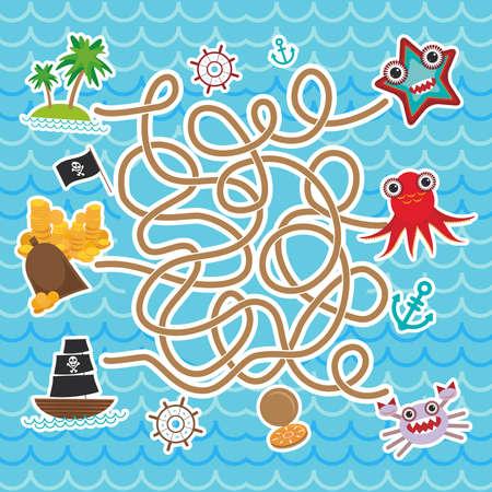 海の動物、船の海賊。かわいい海のオブジェクト コレクション迷路ゲーム就学前の子供のため。ベクトル図