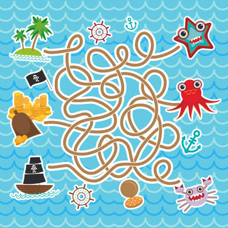 sea animals, boats pirates. cute sea objects collection labyrinth game for Preschool Children. Vector illustration