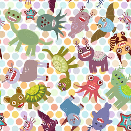Polka dot background, seamless pattern. Funny cute dinosaur monsters. Vector illustration Vector