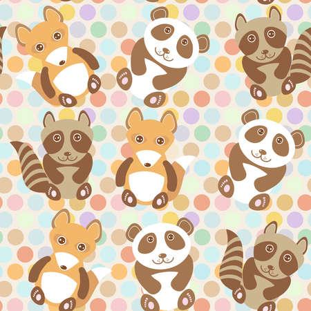 Polka dot background, pattern. Funny cute raccoon, panda, fox on dot background. Vector illustration Vector