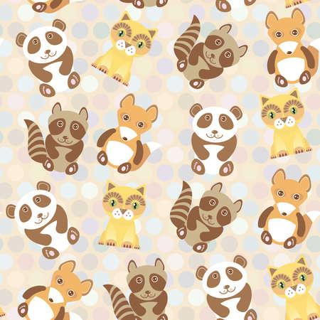 Polka dot background, pattern. Funny cute raccoon, panda, fox, cat on dot background. Vector illustration Vector