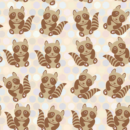 Polka dot background, pattern. Funny cute raccoon on dot background. Vector illustration Vector