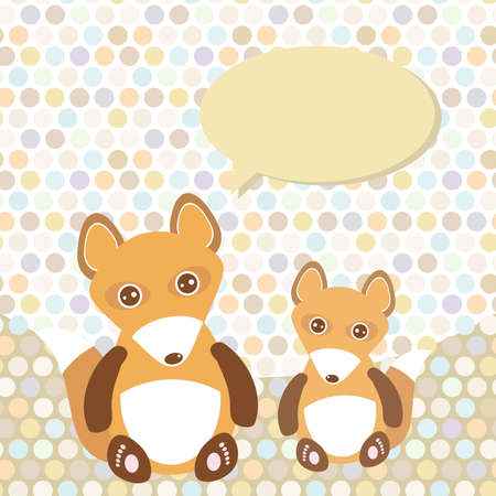 Polka dot background, pattern. Funny cute fox with speech bubble. Vector illustration Vector