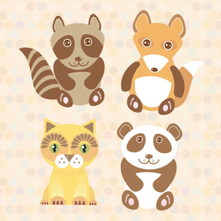 Funny cute raccoon, panda, fox, cat on dot background. Vector illustration Vector