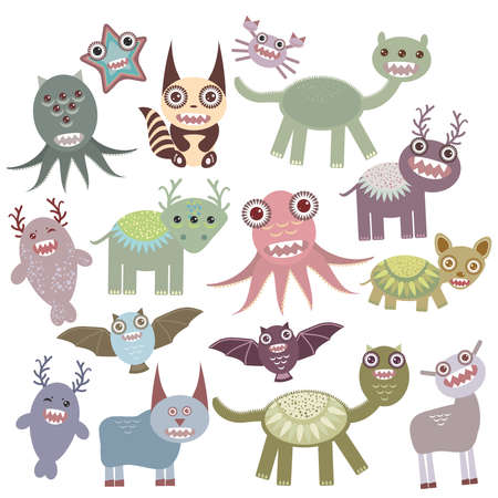 Funny monsters set Big collection on white background. Vector illustration Vector