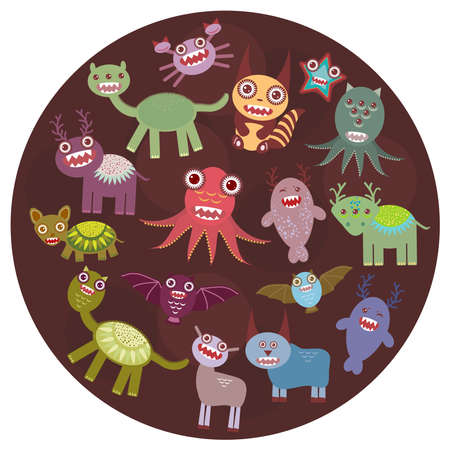 Funny monsters card design. Funny monsters set Big collection on  dark background in the circle. Vector illustration Vector