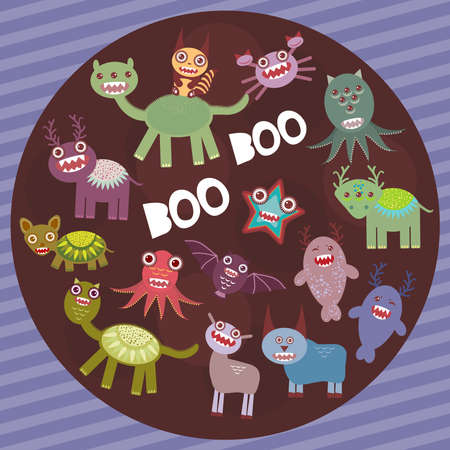 frightening: Funny frightening monsters on purple striped background party card design. Vector illustration
