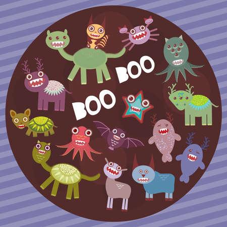 przerażający: Funny frightening monsters on purple striped background party card design. Vector illustration
