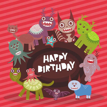 Happy birthday Funny monsters party card design on pink striped background. Vector illustration