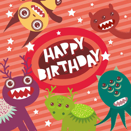 happy birthday girl: Happy birthday Funny monsters party card design on pink background with stars. Vector