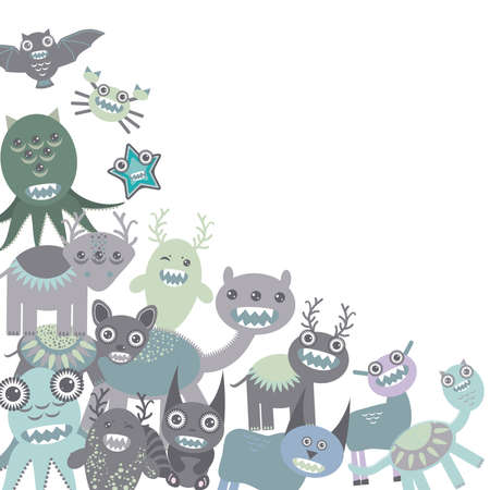 blue and gray Funny monsters set on white background. Vector illustration Vector