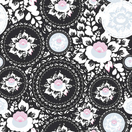 Vintage shabby Chic Seamless, pattern with Pink and white flowers and leaves on black background. Vector