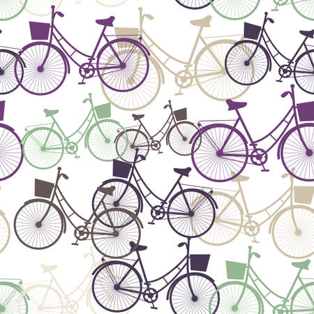 Vintage bicycles seamless pattern, pastel colors. Vector illustration Vector