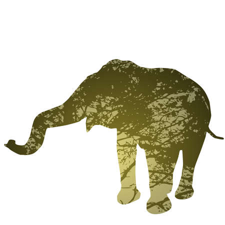 walk through: elephant isolated Silhouette, natural green background. Vector illustration
