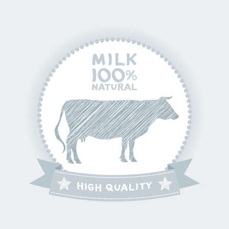 Farm shop, cow milk Diagram and Design Elements in Vintage Style. Vector illustration Vector