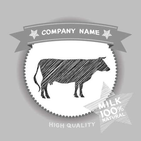 farm shop: Farm shop, cow Silhouette, milk Diagram and Design Elements in Vintage Style. Vector illustration Illustration