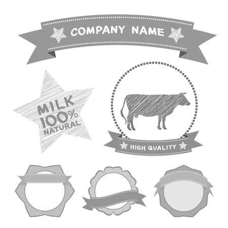 butcher shop labels and design elements Farm, cow milk Diagram and Design Elements in Vintage Style. Vector illustration Vector