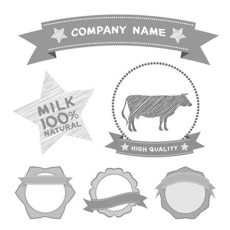 butcher shop labels and design elements Farm, cow milk Diagram and Design Elements in Vintage Style. Vector illustration