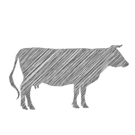 cow silhouette, shading, doodle, drawing by hand. Vector illustration