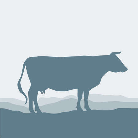 Cow silhouette  graze in the field, landscape, sky, grass, pasture. Blue, gray background.  Vector illustration 矢量图像