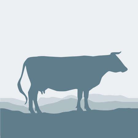 herbe ciel: Cow silhouette pa�tre dans le champ, paysage, ciel, herbe, p�turage. Bleu, fond gris. Vector illustration