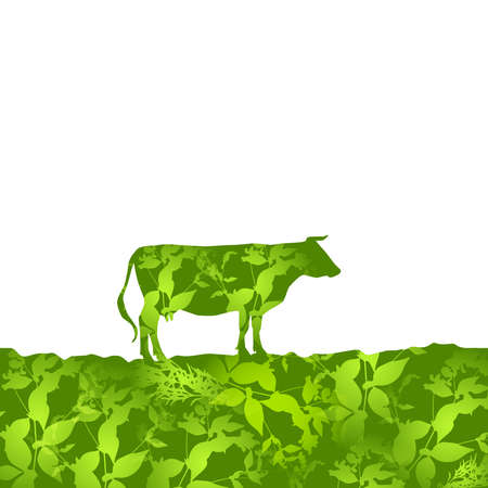 graze: Cow silhouette  graze in the field, landscape, grass, pasture. green  background.  Vector illustration