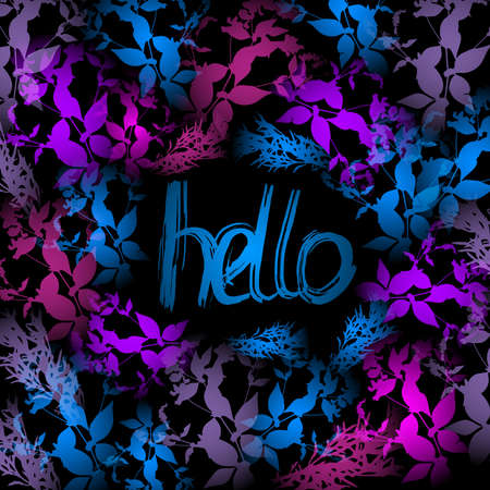 Hello Neon light, blue, pink leaves on black background. Vector illustration Vector