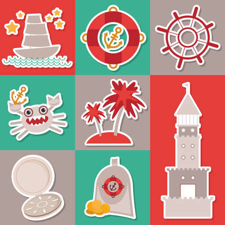 Sticker set Vintage nautical card and seamless pattern with sea animals, boats lighthouse. cute sea objects collection. Vector Vector