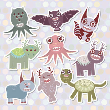 Sticker set Funny monsters collection on Polka dot background. Vector illustration Vector