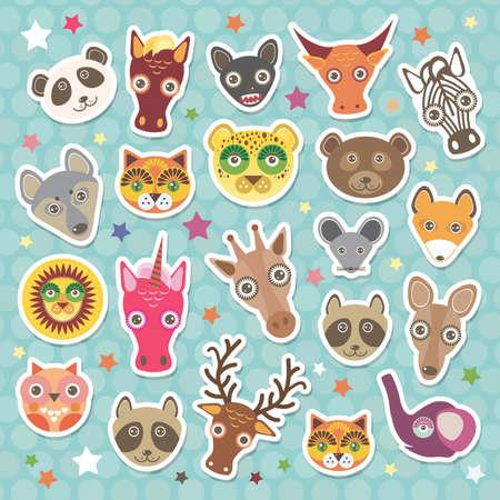 funny animal: Conjunto de pegatina de animales divertidos bozal. Fondo del trullo con las estrellas, del lunar. Ilustraci�n vectorial Vectores