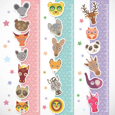 stiker: Children height meter wall Sticker set. funny animals muzzle stiker with stars pink lilac blue stripes. Vector illustration
