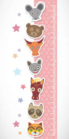 Children height meter wall sticker. Set of funny animals muzzle pink stiker with stars. Vector illustration Vector