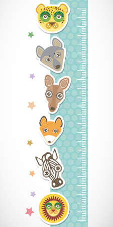 Children height meter wall sticker. Set of funny animals muzzle blue stiker with stars. Vector illustration Vector
