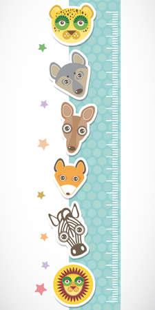 funny animal: Ni�os etiqueta de la pared de altura metros. Conjunto de animales divertidos bozal stiker azul con estrellas. Ilustraci�n vectorial Vectores