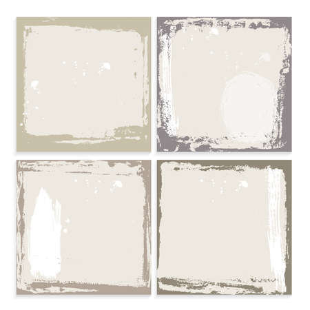 Abstract grunge frame set. brown beige and white Background template. Vector illustration