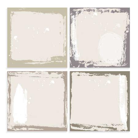 marcos decorativos: Conjunto del marco del grunge abstracto. amarillento marr�n y el modelo del fondo blanco. ilustraci�n vectorial
