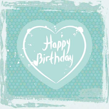 抽象的なグランジ フレーム。お誕生日おめでとう、青い背景テンプレートに心。ベクトル図