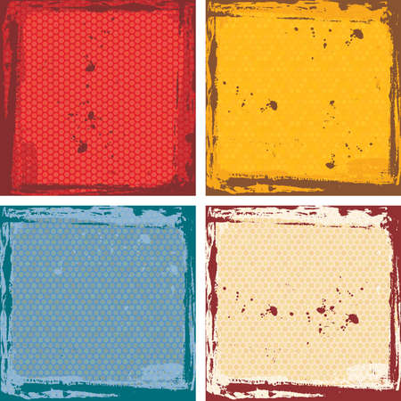 Abstract grunge frame set. red orange blue beige Background template. Vector illustration Ilustração