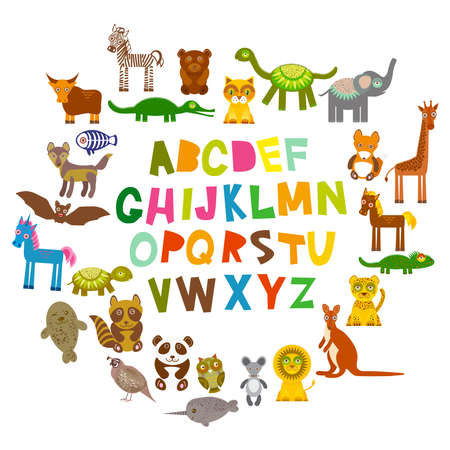 leopard gecko: alphabet for kids from A to Z. Set of funny cartoon animals character. zoo on white background. Vector illustration