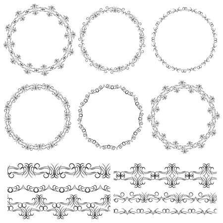 included: Vintage floral elements, black on white background. template for your design. Used pattern brushes included.  Seamless pattern for frames and borders. Vector illustration