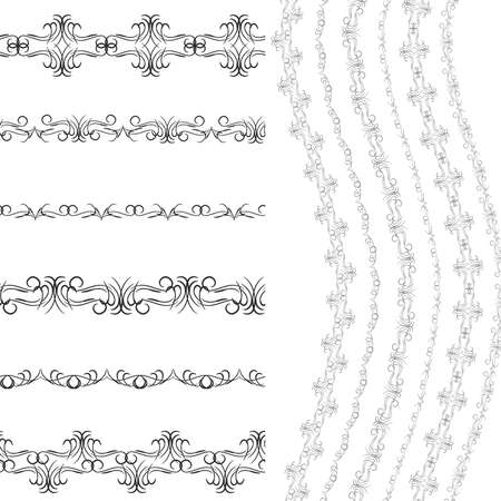 Vintage scrapbook design patterns, black on white background. template for your design.  Seamless pattern for frames and borders. Used pattern brushes included. Vector illustration Vector