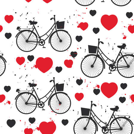 seamless pattern black bike and red heart on white background. Vector illustration 向量圖像