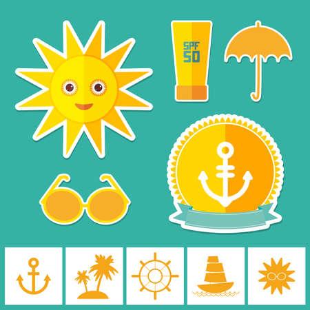 to sunbathe: Set of summer vacation beach. Umbrella sun ship sailing sunglasses cream anchor steering wheel island, palm trees. Yellow Green Orange on blue background. Vector illustration