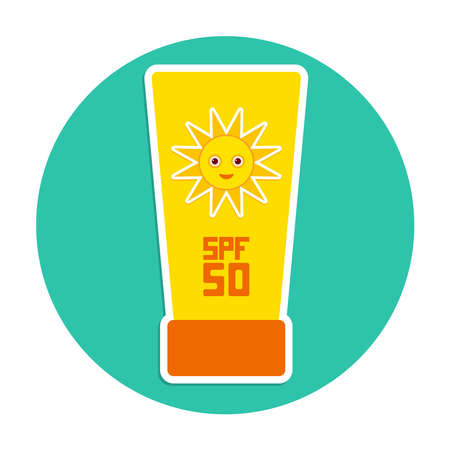 Sunscreen SPF 50. The yellow tube on blue background. Summer vacation beach. Round Card Design. Vector illustration