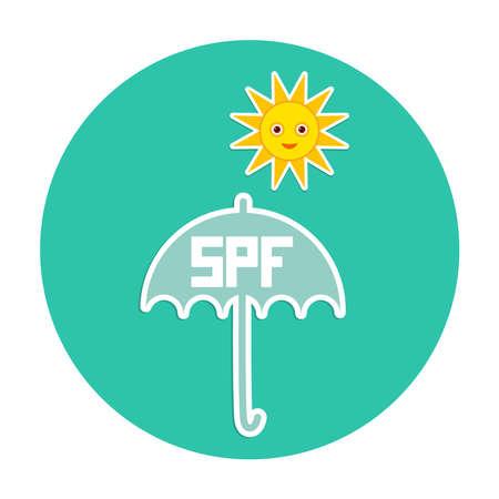 to sunbathe: Summer vacation beach Round Card Design. Umbrella, bright sun, sunscreen, SPF. Yellow Green Blue. Vector illustration
