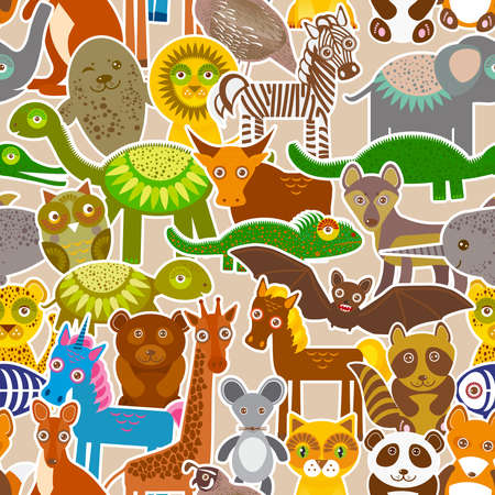 collection Funny cartoon Animals seamless pattern on beige background. Vector illustration